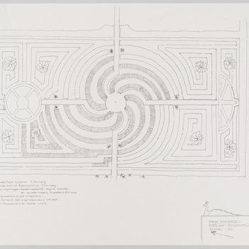 Reconstructie-ontwerp van het doolhof op landgoed Staverden