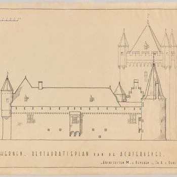 Restauratieplan van de achtergevel van kasteel Hernen