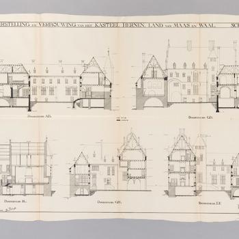 Doorsnedes van het verbouwingsplan van kasteel Hernen