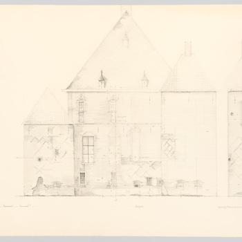 Opmetingstekening van de westgevel van kasteel Cannenburch