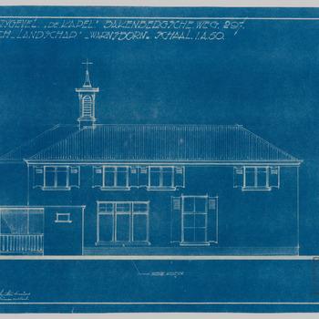 Blauwdruk van de zijgevel van 'de kapel' op landgoed Warnsborn