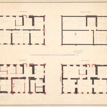Vier plattegronden van huis Scherpenzeel