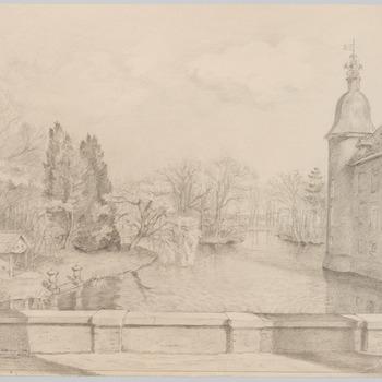 Gezicht op de vijver van kasteel Biljoen