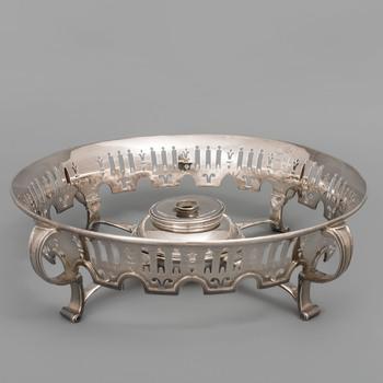 Zilveren rechaud met familiewapen Torck-de Rode van Heeckeren