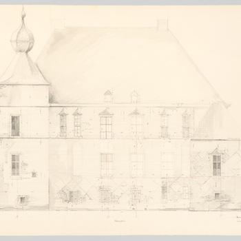 Opmetingstekening van de achtergevel van kasteel Cannenburch