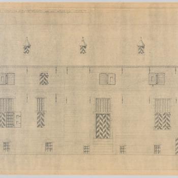Westelijke gevel van de binnenplaats van kasteel Hernen