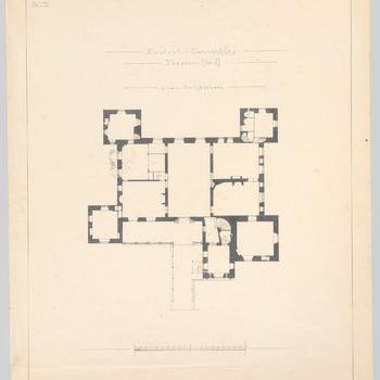 Plattegrond van de hoofdverdieping van kasteel Cannenburch