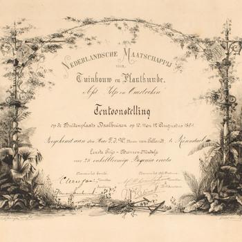 Diploma van de Nederlandse Maatschappij voor Tuinbouw en Plantkunde