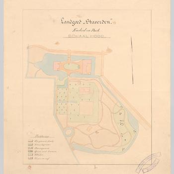 Kleurendruk van landgoed Staverden