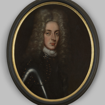 Portret van een heer in harnas