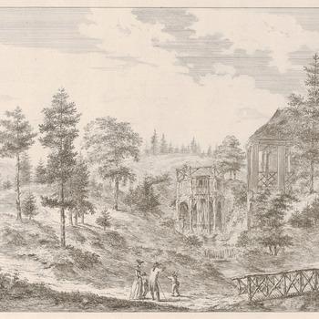 Gezicht op de grote Cascade bij kasteel Biljoen