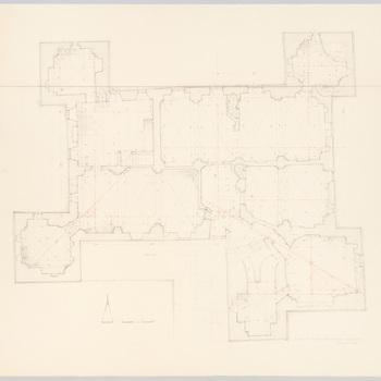Opmetingstekening van het kelderplan van kasteel Cannenburch