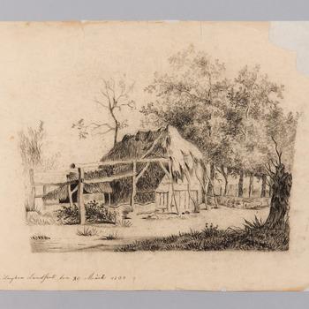 Vervallen huis tussen de bomen