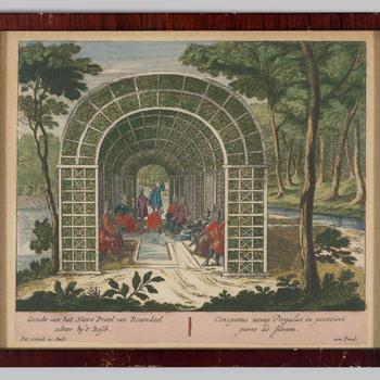 Prent van de tuin van kasteel Rosendael