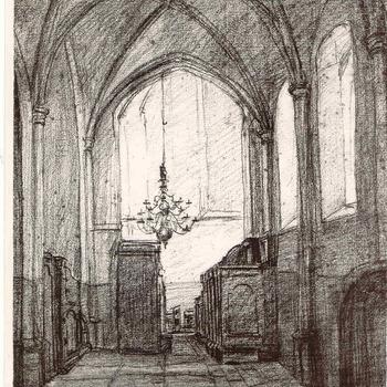 Grote Kerk; foto van houtskooltekening