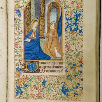 """Getijdenboek """"Horarium in het Latijn"""" handschrift op perkament, circa 1470, Frankrijk"""