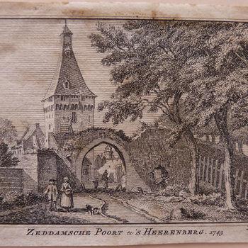 """Gravure """"Zeddamsche Poort te 's-Heerenberg"""" op papier,  1745"""