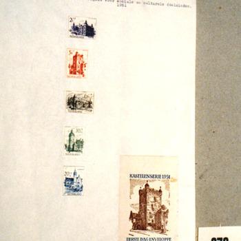 Zomerpostzegels (5) met kasteel afb. van Hillenraad, Bergh, Hernen, Rechteren, Moermond