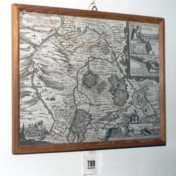 """Topografische prent """"Belegering van de stad Grol"""" op papier gedrukt, 1651"""