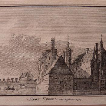 "Boekillustratie ""Kasteel Keppel"" op papier, 1743"