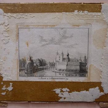 """Prent """"Kerk en kasteel te 's-Heerenberg. 1743"""" op papier naar Jan de Beijer, 1743"""