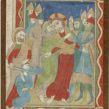 """Boekfragment """"Blad uit een Missaal"""" handschrift op perkament, Midden-Frankrijk, circa 1130"""
