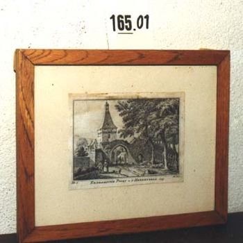"""Gravure """"Zeddamsche Poort te 's-Heerenberg"""" op papier,  1743"""