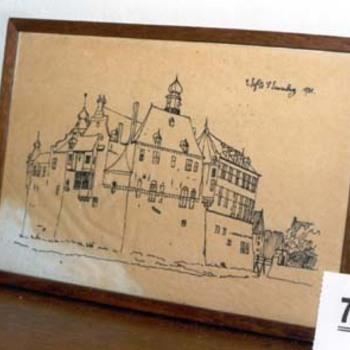 """Tekening """"Gezicht kasteel Bergh"""" op papier, naar een tekening van Cornelis Pronk 1731 door Jhr. E. van Nispen, 1925"""