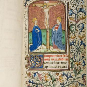 """Getijdenboek """"Getijdenboek met later toegevoegde gebeden"""" handschrift op perkament, circa 1480, Doornik?"""