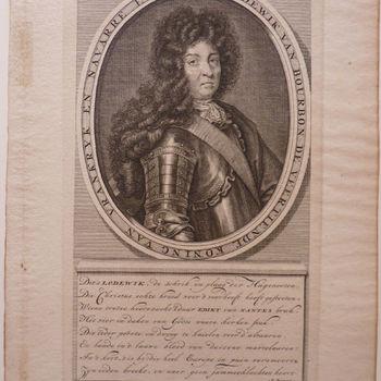 """Portret """"Portret Louis XIV"""" op papier, door A. Bogeart gegraveerd"""