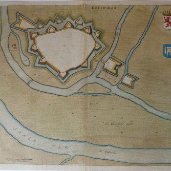 """Topografische prent """"Doesburgh"""" op papier, 1649"""