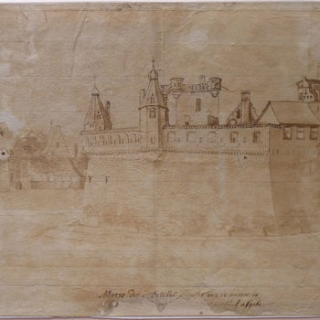 """Gravure """"Kasteel Huis Bergh"""" op papier, na 1725"""