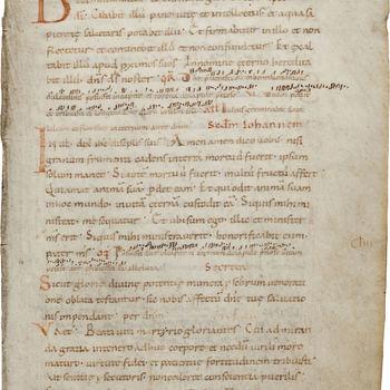 """Boekfragment """"Blad uit een Missaal"""" handschrift op perkament, 9e of 10e eeuw, West-Europa"""
