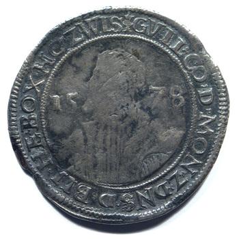 """Taler """"Portretdaalder van graaf Willem IV"""" zilver, 1578, 's-Heerenberg"""