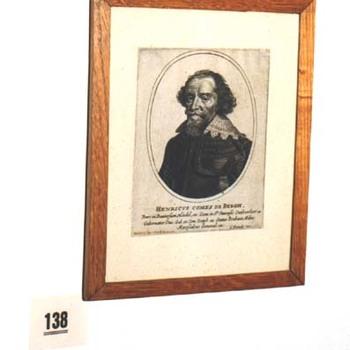 """Portret """"Henricvs Comes de Bergh"""" op papier naar een gravure van C. Danck, circa 1650"""