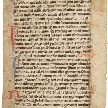 """Boekfragment """"Blad uit Missaal"""" handschrift op papier, 13e begin 14e eeuw, vermoedelijk Normandië"""