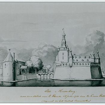 """Gravure """"Kasteel Bergh"""" op papier, naar een tekening van Cornelis Pronk, door Rodenburg, 1931"""