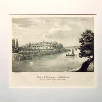 """Gravure """"Chateau de Walbourg prov.de Limbourg"""" op papier door A.F. van Afferden"""