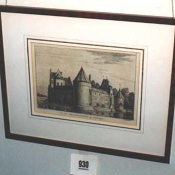 """Gravure """"Het Slot Zwaanenburg bij Gendringen"""" op papier"""