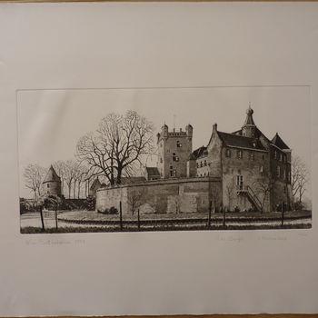 """Gravure """"Huis Bergh, anno 1992"""" op papier naar een tekening van Wim Bettenhausen"""