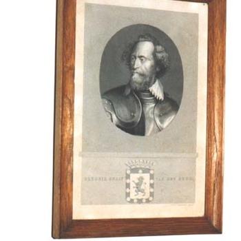 """Portret """"Hendrik van den Bergh"""" op papier naar een gravure van J.F.C. Reckleben, circa 1850"""