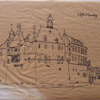 """Tekening """"Gezicht kasteel Bergh"""" papier, naar een tekening van Cornelis Pronk 1731, door Jhr. E. van Nispen, 1925"""