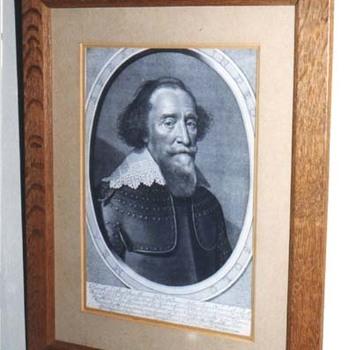 """Portret  """"Hendrik van den Bergh"""" op papier naar een portret van M. van Miereveld, door W.J. Dellf, 1634"""
