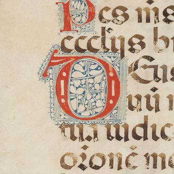 """Boekfragment """"Blad uit een Missaal"""" handschrift op perkament, 14e eeuw, West-Europa"""