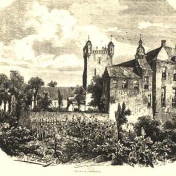 """Gravure """"Het slot te 's-Heerenberg zuidkant"""" op papier door J.C. Greive, circa 1866"""