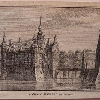 """Boekillustratie """" 't Slot Keppel van vooren"""" op papier, 1743"""