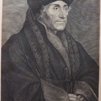 "Portret ""Desiderius Erasmus"" op papier, gravure door L. Vorsterman naar Hansus Holbenius, circa 1626"