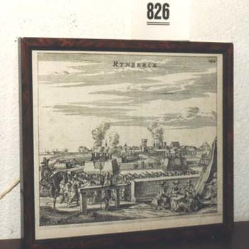 """Gravure  """"Belegering van Rijnberg"""" op papier"""