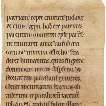 """Boekfragment """"Fragment uit een Missaal"""" handschrift op perkament, circa 1150, Vlaanderen"""
