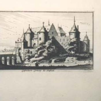 """Gravure """"Castellum Conroy le Chateau"""" op papier"""